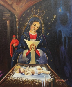 """Virgen de la Altagracia"" - Julio Reyes - pintura acrílica tela 37x45 - 2017 • <a style=""font-size:0.8em;"" href=""http://www.flickr.com/photos/137394602@N06/31887146183/"" target=""_blank"">View on Flickr</a>"