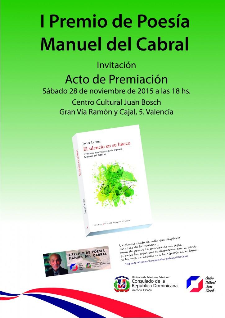 Cartel A3 - Acto de Premiacion I Premio de Poesía Manuel Del Cabral