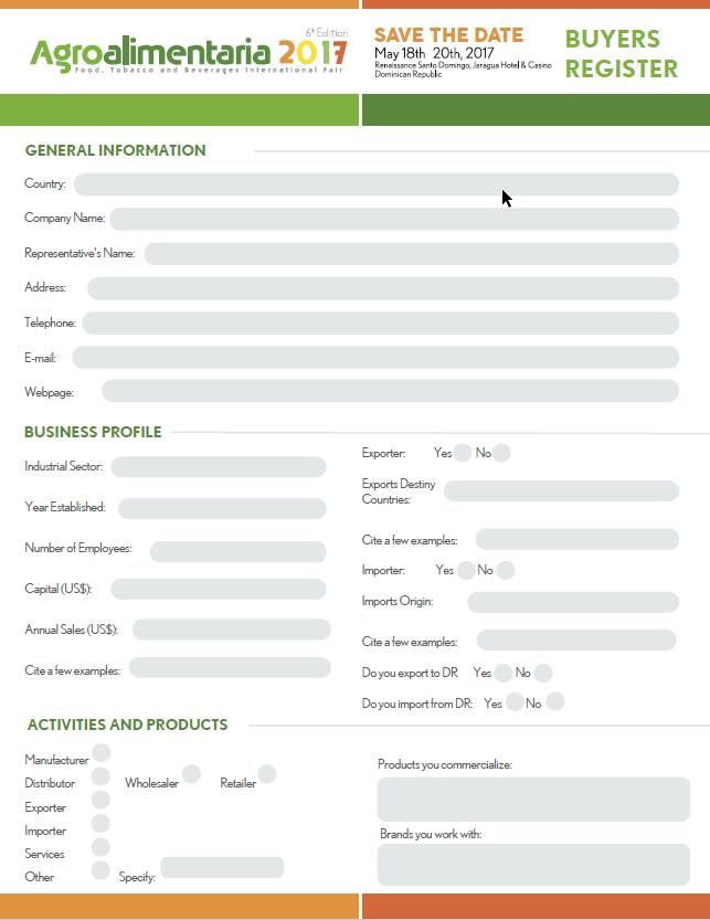 Formulario de Inscripción para Agroalimentaria 2017